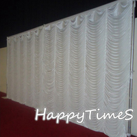 3*6m Event Background Decorations Wedding Curtain Backdrop Drapes In Ripple Design White Color