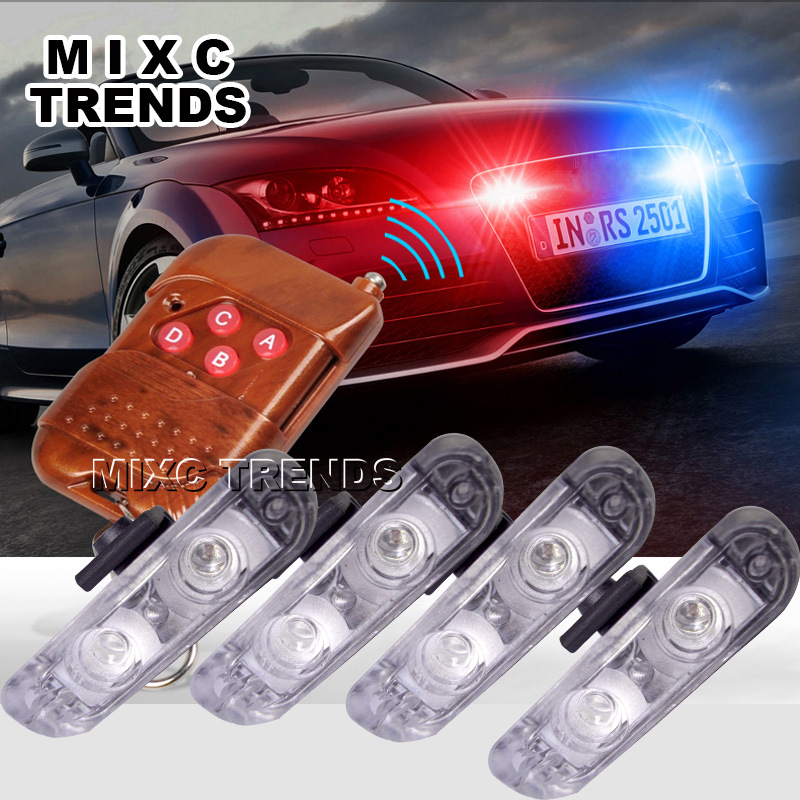 4pcs/lot 2LED Ambulance Police light 3Mode controller Car Truck Light Flashing Firemen Lights DC 12V led Warning light police style car dc 12v 96 led red blue stroboscopic light with 3 mode controller