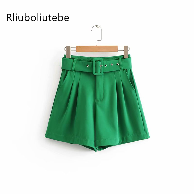 solid women with belt   shorts   high waist sashes pocket casual pleated   shorts   for office work autumn spring summer fashion