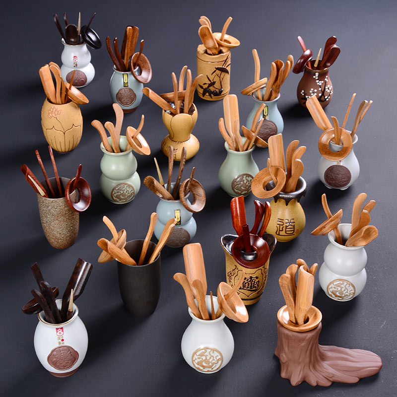 Six Gentlemen for Home Kung Fu Tea Set Ceramic Tea Set Tray AccessoriesTea Clip Needle Spoon Cups Leak Mat Macombination E $