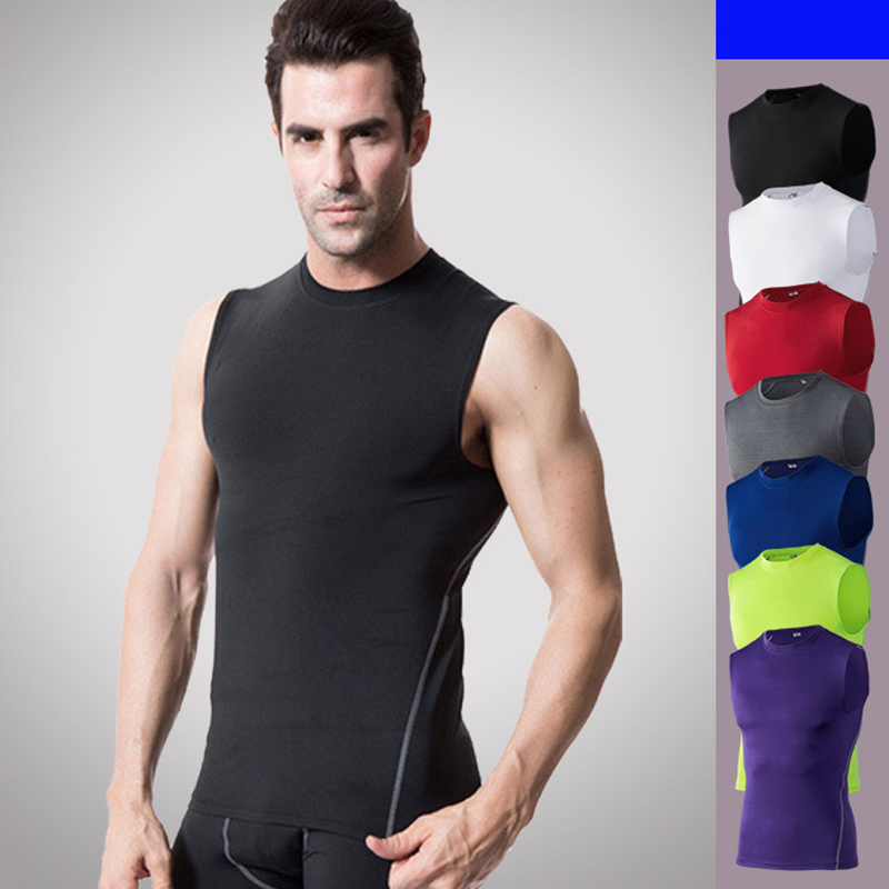 running - Quick dry mens sleeveless compression running vest summer bodybuilding jogging tank tops breathable fitness workout muscle shirt