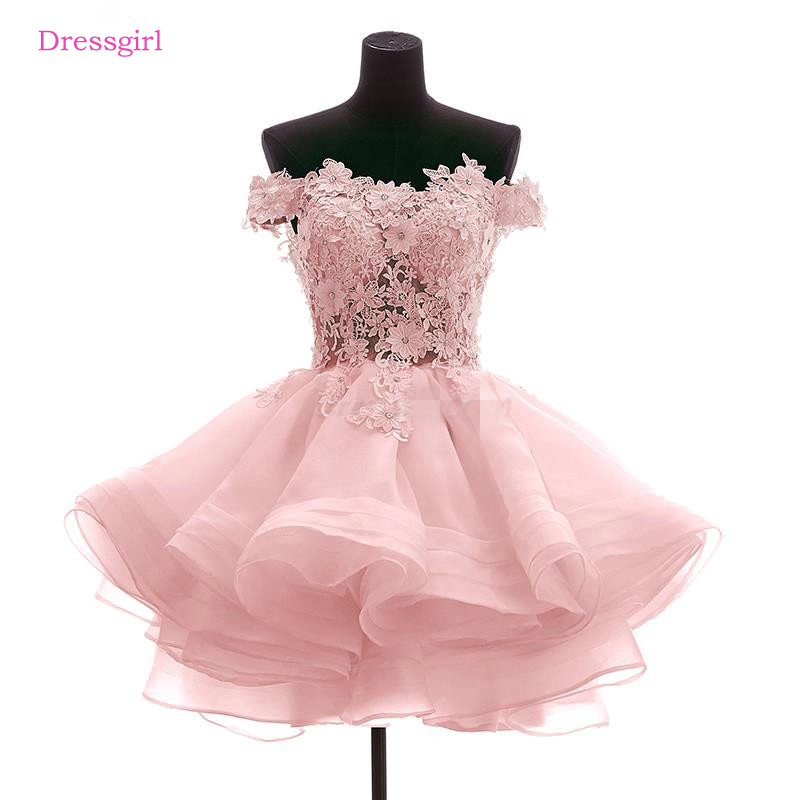 Pink 2017 Elegant   Cocktail     Dresses   A-line Cap Sleeves Short Mini Tulle Appliques Lace Beaded Homecoming   Dresses