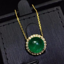 CQT Fine Jewelry Certificate Real 18K Yellow Gold AU750 Natural Green Emerald 3.89ct Gemstones Pendants for Women Necklace