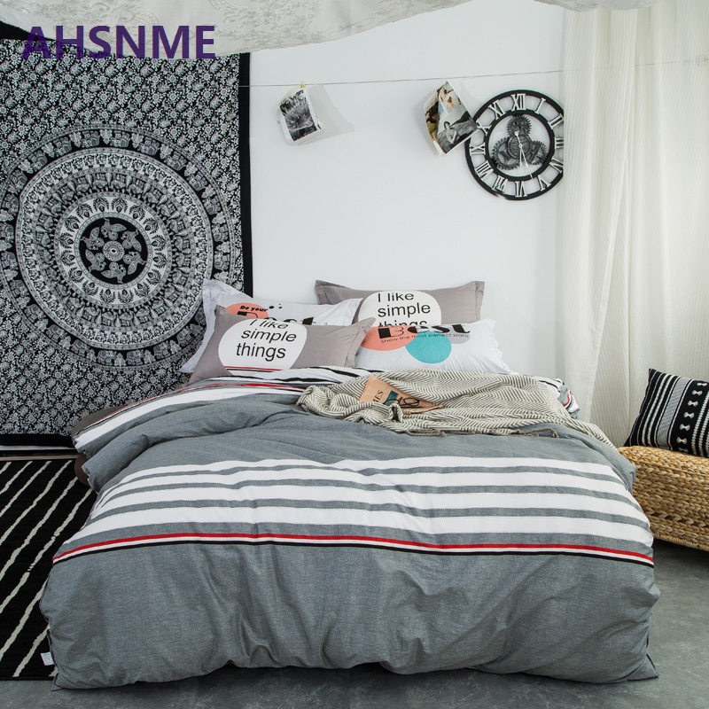 AHSNME 100% Cotton Twill Bedlinen Nordic bedclothes multi size bedcover Pentagram pattern duvet cover pillowcase bedding set Bed