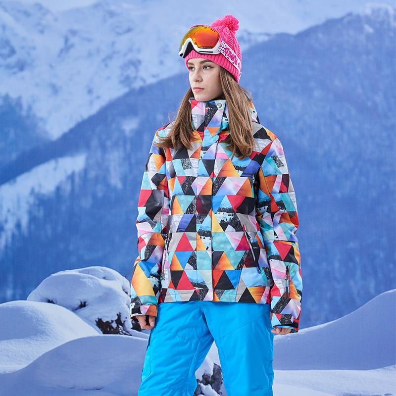 2017 New female geometry ski jacket women cycling hiking snowboarding skiing jackets waterproof windproof thermal anorak skiwear 2016 womens color matching ski jacket blue pink gray snowboarding jackets skiing jacket for women anorak skiwear 10k xs l