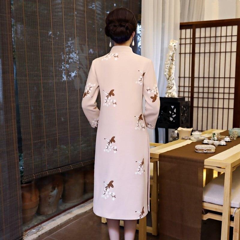 Hiver Femmes Longueur Genou 2 Chinois 2018 Costume Le Mandarin Qipao Pcs Définit Style Robe 1 Cheongsam Partie Mince Col Robes style nO8w0Pk