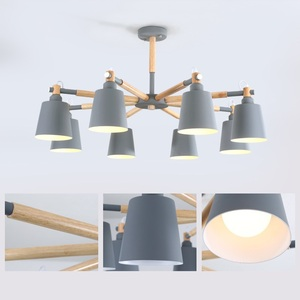 Image 5 - LukLoy Wood Pendant Lights Macaron Modern Lamp Black Grey Blue Green For Loft Living Room Loft Bedroom Kitchen Lamp Nordic Style