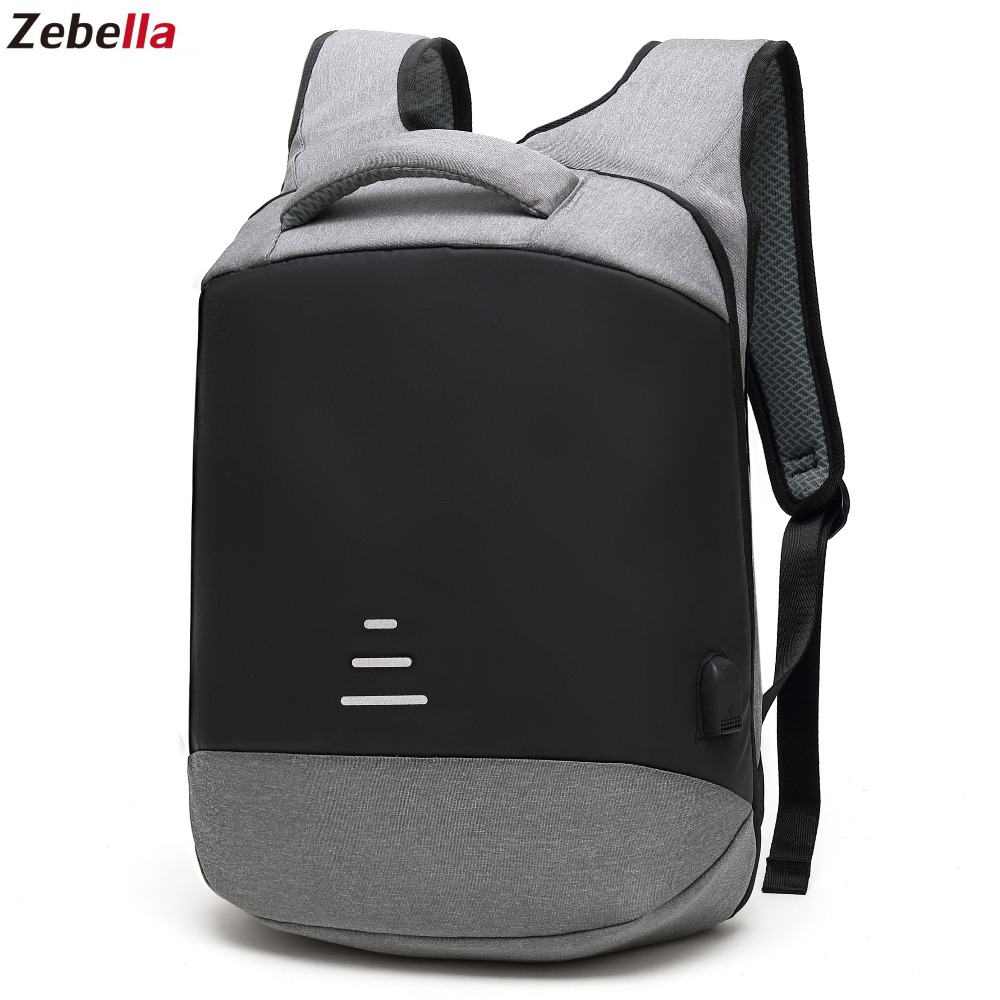 Zebella Anti-theft Men Backpack Waterproof USB Charging Black Business Travel Bags For Notebooks Vintage School Bag For Teenager 1