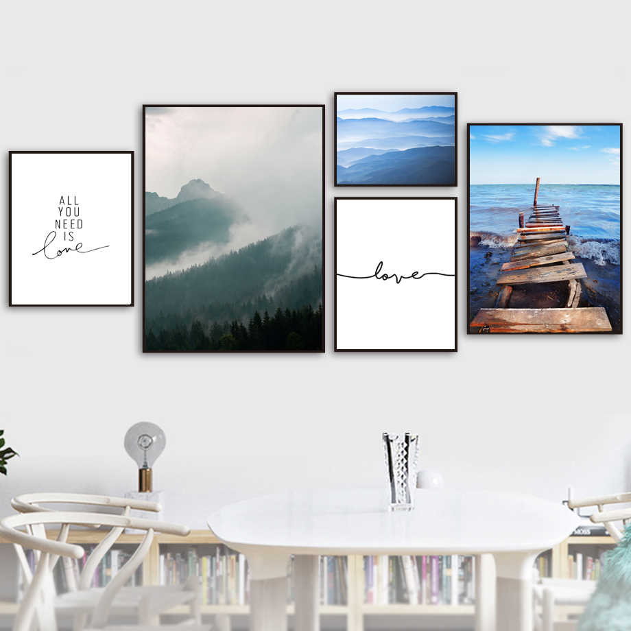 Forest Bridge Sea Motivational Quotes Wall Art Canvas Painting Nordic Posters And Prints Wall Pictures For Living Room Decor