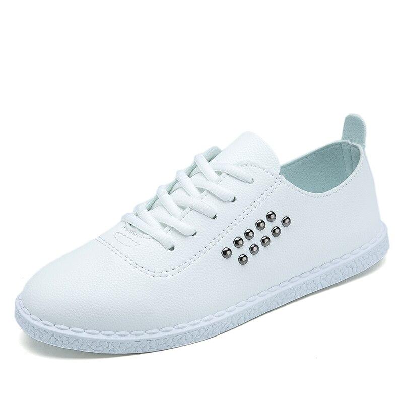 Nueva primavera con cordones de Las Mujeres Pisos de Cuero Blanco Zapatos de Pun