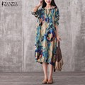 2017 ZANZEA Women Vintage Mid-calf Dress Autumn Casual Loose O Neck Long Sleeve Floral Print Dresses Plus Size Vestidos