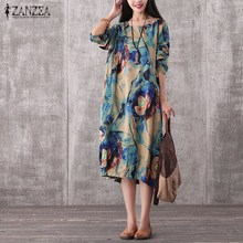 2017 ZANZEA Women Vintage Mid calf Dress Autumn Casual Loose O Neck Long Sleeve Floral Print