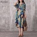 2017 zanzea mujeres de la vendimia mediados de-becerro dress otoño flojo ocasional del cuello de o de manga larga floral vestidos de impresión más el tamaño vestidos
