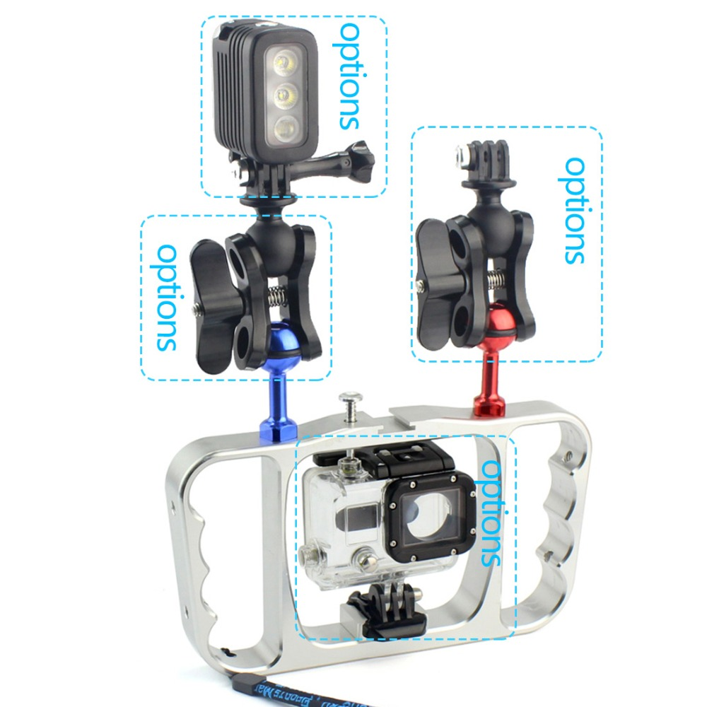 Image 3 - Dual Handle Scuba Diving Bracket Flash Light Mounting Frame Kit for Gopro Hero 7 6 5 4 SJCAM Sony Camera Camcorder Smartphone-in Sports Camcorder Cases from Consumer Electronics