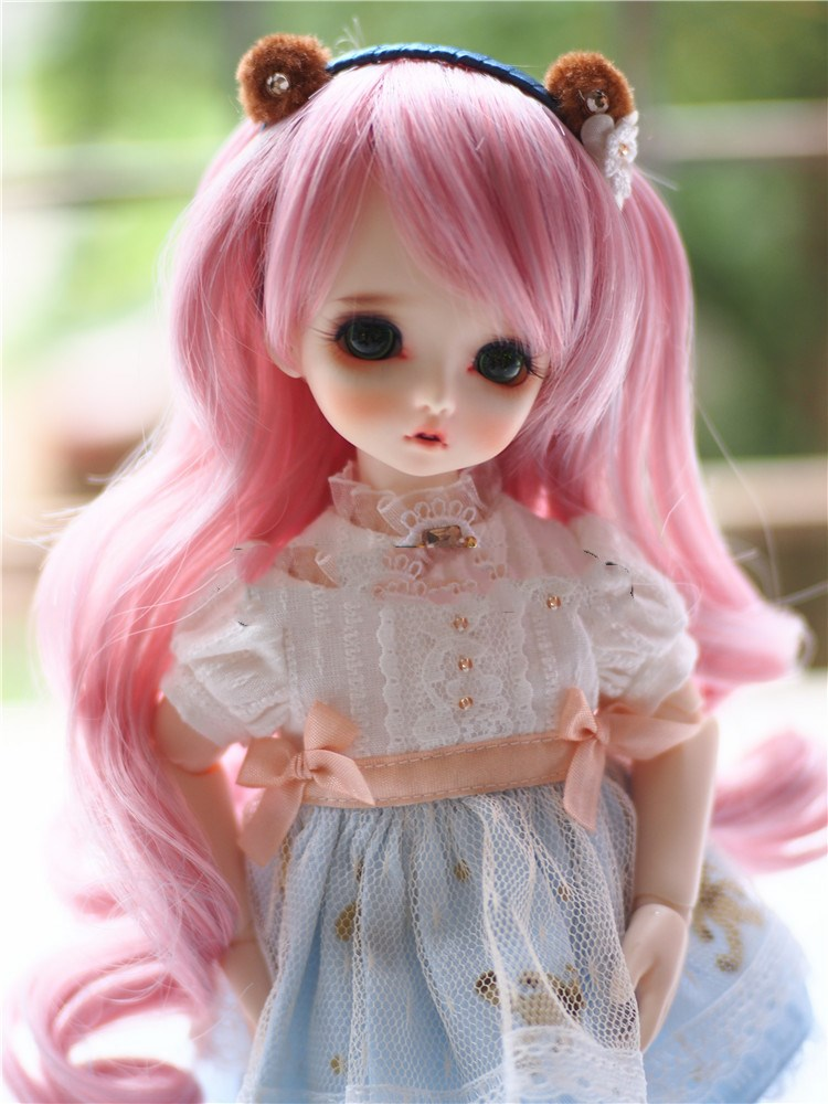 Top quality 1/3 1/4 1/6 pink Color Long wave Hair SD BJD Doll Wigs ...