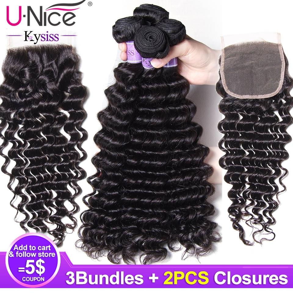 Unice Hair 8A Kysiss Series Peruvian Deep Wave 3 Pcs Bundles with 2 Pcs Closure Human
