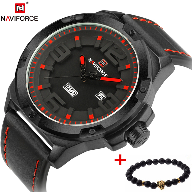 25d8c74ee NAVIFORCE Luxury Brand Military Watches Men Quartz Analog 3D Face Leather  Clock Man Sports Watches Army Watch Relogios Masculino