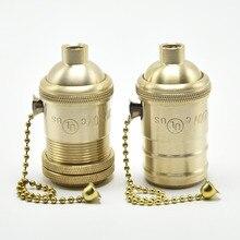 E27 круглые светодиодные лампы UL Медь Античная E27 цоколь Эдисона розетки для лампочек с Тяговый цепной переключатель включения/OFF Винтаж кулон держатели ламп, комплект из 2 предметов