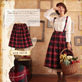 Japanese Spring Autumn Forest Loose Women's Vintage Plaid Suspenders School Wear Lolita Mori Girl Cute Kawaii Female Skirt H104