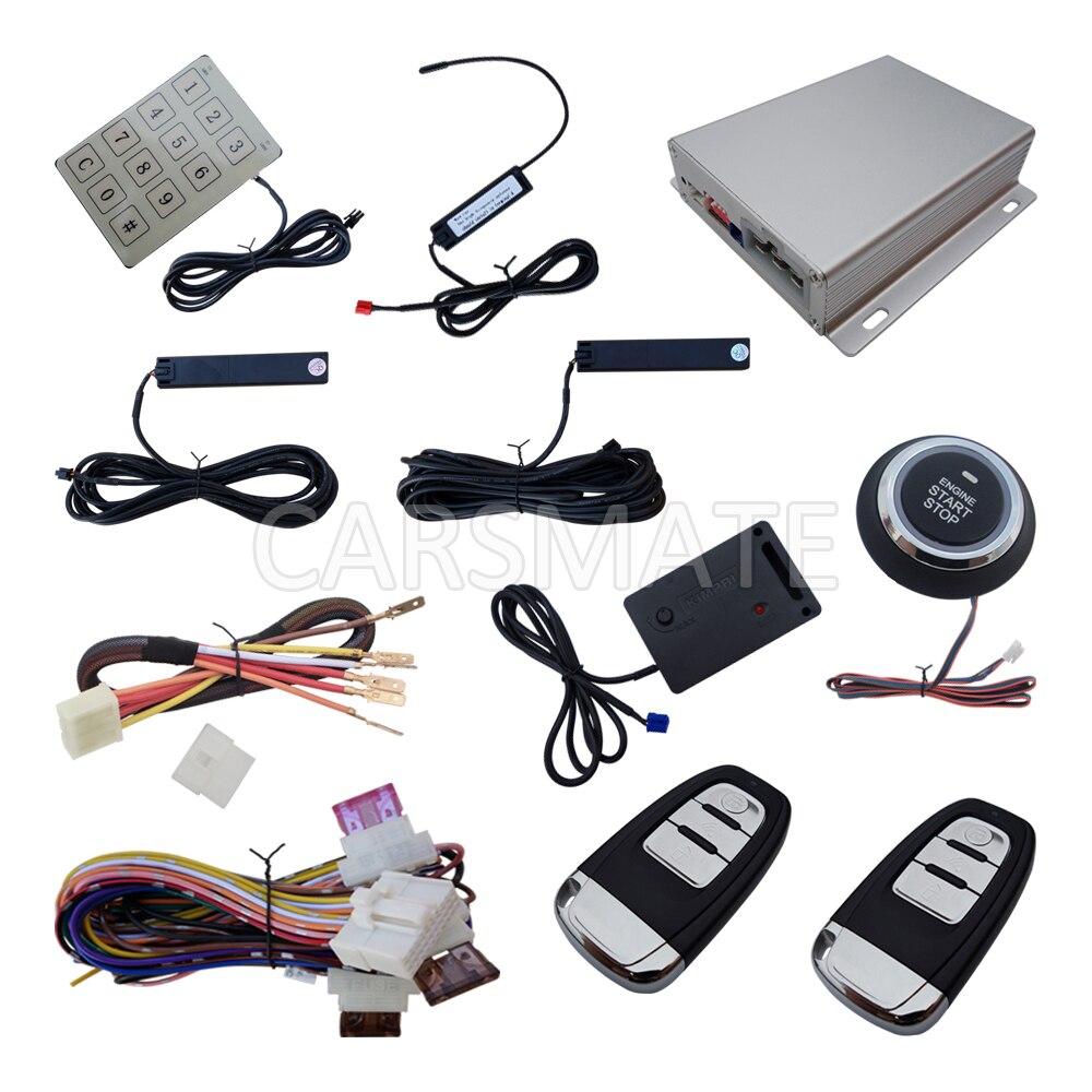 Многофункциональная пассивная система сигнализации PKE, вход без ключа, кнопка запуска, дистанционный запуск, код прыжков, с датчиком удара
