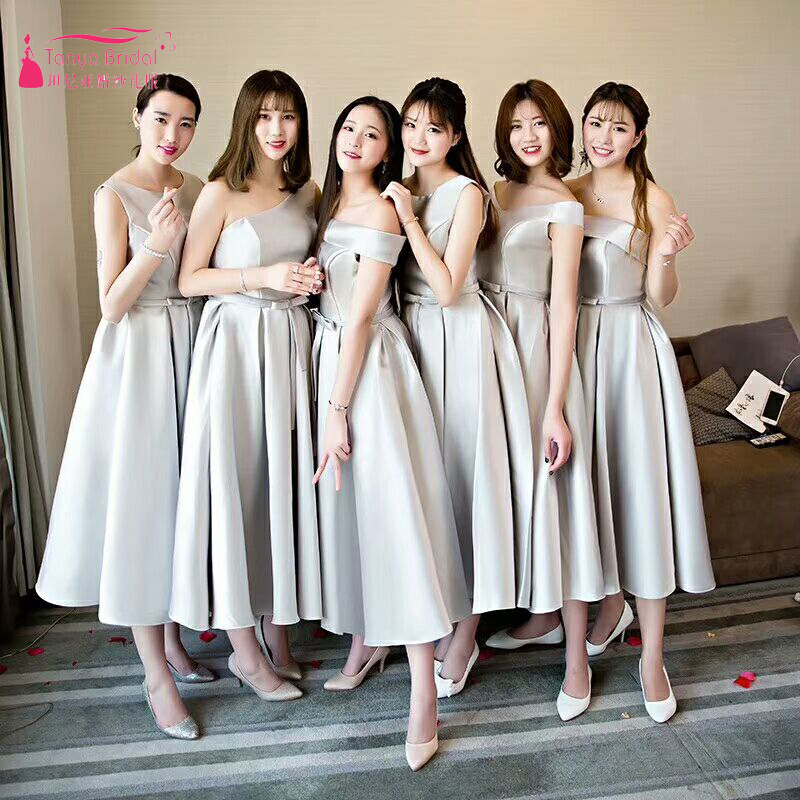 Silver Bridesmaid Dresses Simple Satin Cheap African