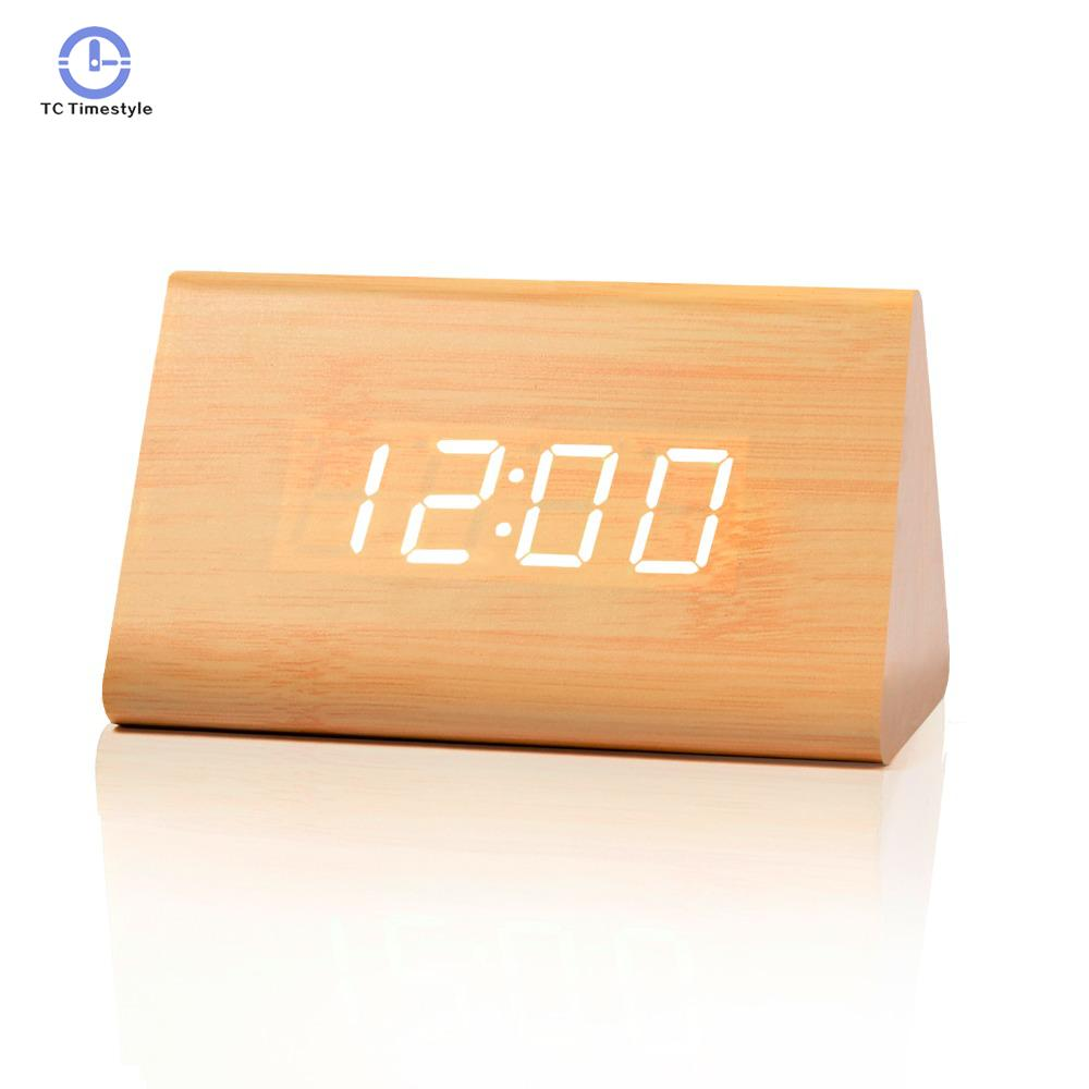 Temperature Display Digital Clock Led Sound Control Wooden Alarm Electronic Desk Clocks Usb/AAA Powered Watch