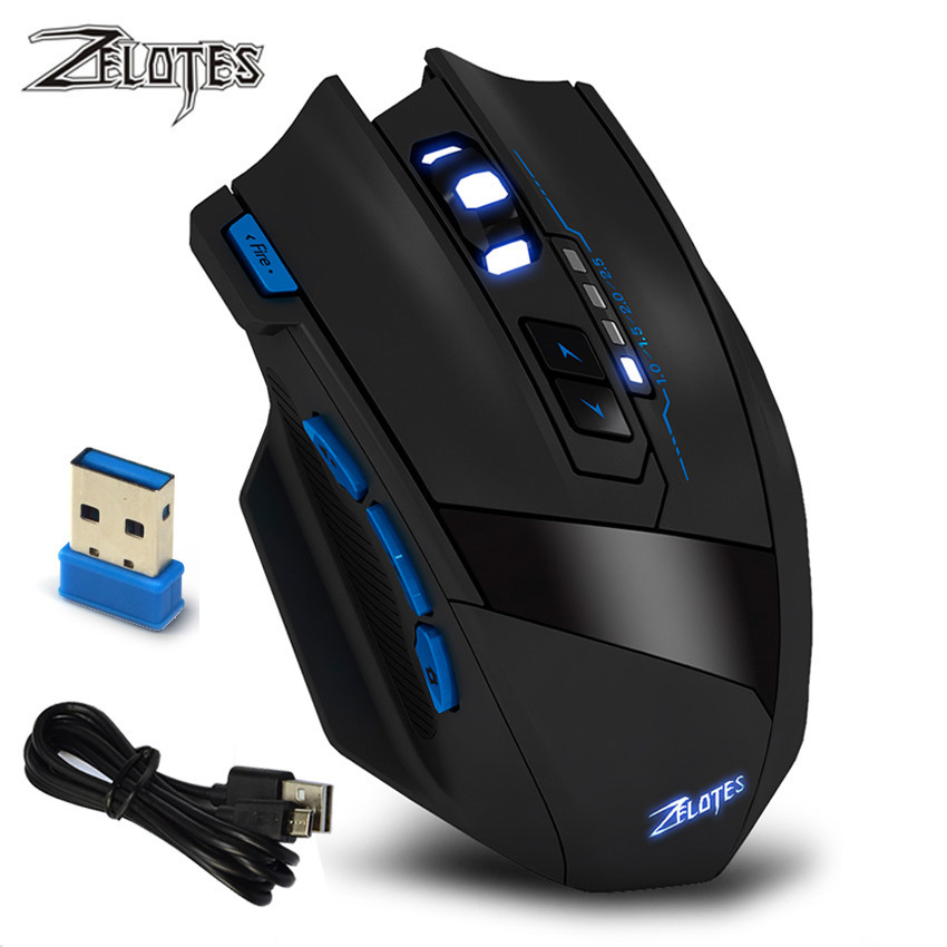 Zelotes F-15 Dual-mode Gaming Mouse 2500DPI Adjustable Wired/Wireless Computer Office Mouse Foldable Travel Notebook Mute Mouse