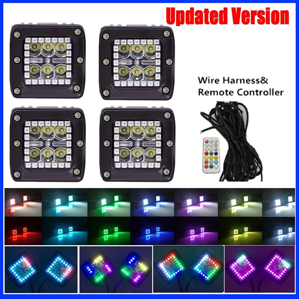 4x24 Вт светодиодный свет бар 3 Pod кубики с RGB Halo Кольцо 12 одноцветное Цвет 36 чеканка режиме и монтажный комплект для Jeep Грузовик bat внедорожник