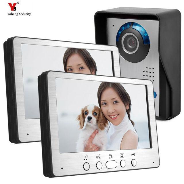 7 بوصة TFT LCD الفيديو باب الهاتف البصرية فيديو إنترفون مكبر صوت إنترفون نظام + 2 مراقب + 1 للماء في الهواء الطلق IR كاميرا