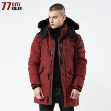 Высокое качество 2018 Толстая теплая зимняя куртка Мужская ветрозащитная длинная парка с капюшоном с меховым воротником Большие размеры 3XL парки hombre invierno