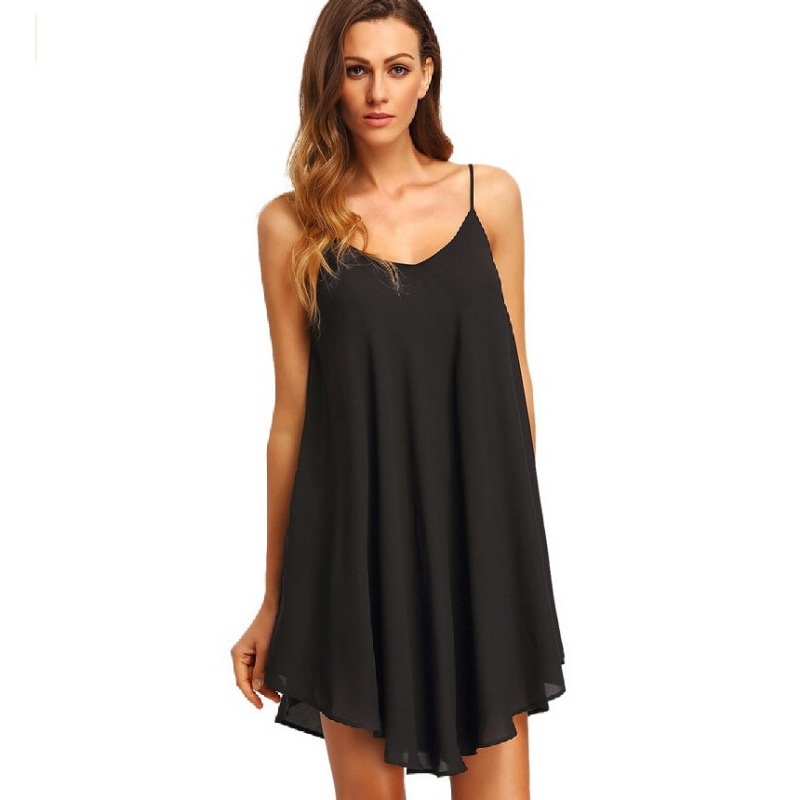 2019 Plus Size 2019 <font><b>Sexy</b></font> V-neck Women Mini Dress Candy Colors Sleeveless Chiffon Dress Casual Short <font><b>XXL</b></font> <font><b>Hot</b></font> Fashion image