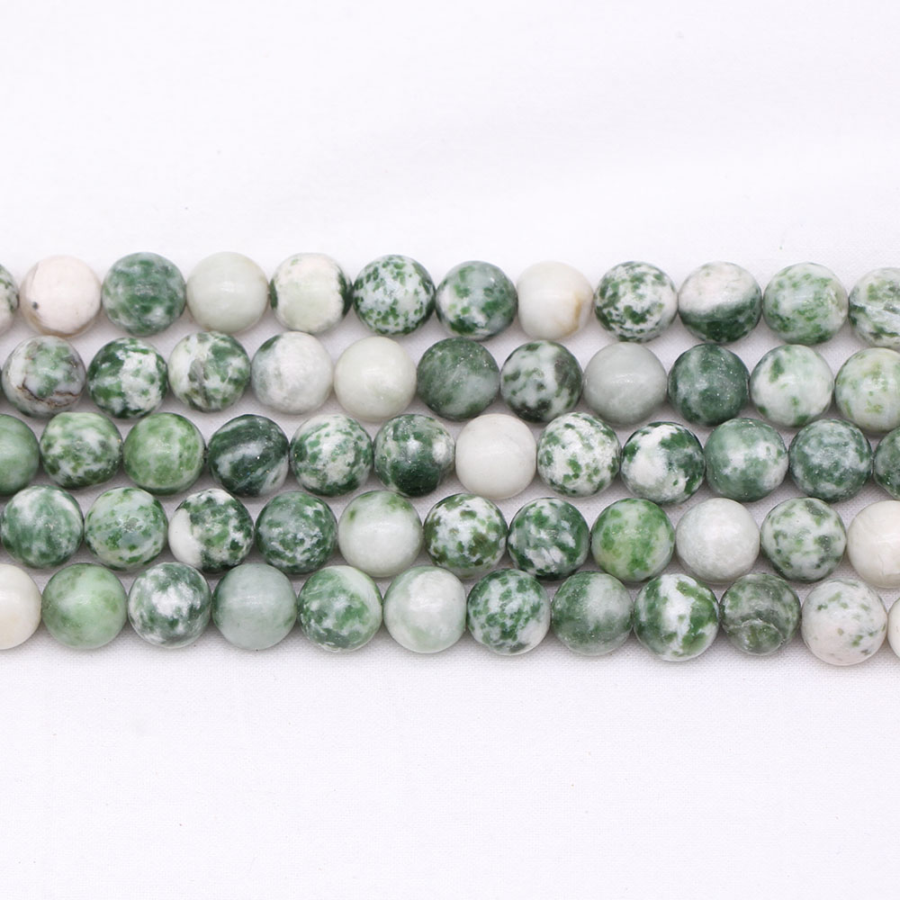 1 Strand/lot Natural Green Spot Stone Bead Round Loose Spacer Beads 4/6/8/10/12 Mm For Diy Bracelet Jewelry Making Accessories For Improving Blood Circulation Beads