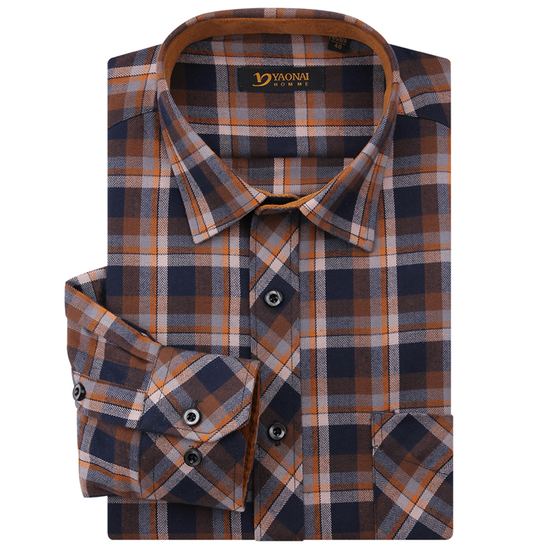 2016 new fashion mens classic long sleeve midweight plaid for Polyester lined flannel shirts