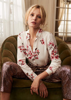 2019 New French Romantic Shirt Women Begonia Flower Print Silk Sweet Blouse Top