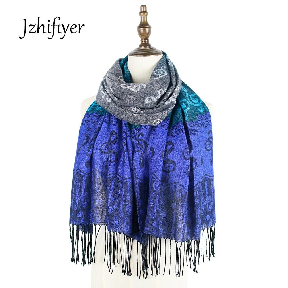 tippet halsduk feminino musiknote G-clefs Jacquard halsduk mode pashmina sjal wrap vinter halsduk vävda sjal bandana frans