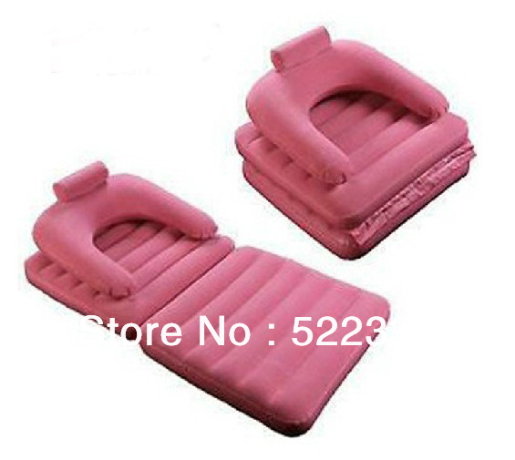 Free shipping pink PVC  flocking Folding inflatable Sofa chair