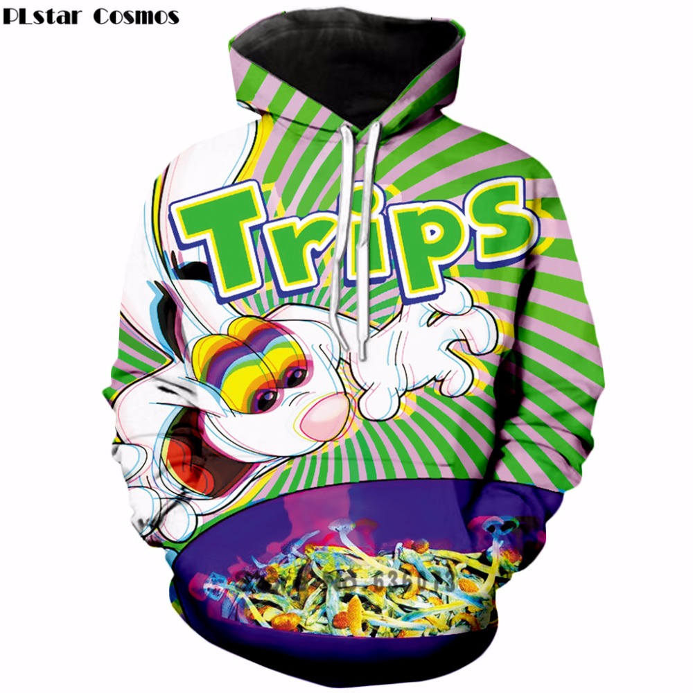 PLstar Cosmos 2019 Autumn New Fashion Womens/Mens hoodies trippy vibrant Trix Rabbit psychedelic 3d Print Hooded sweatshirt