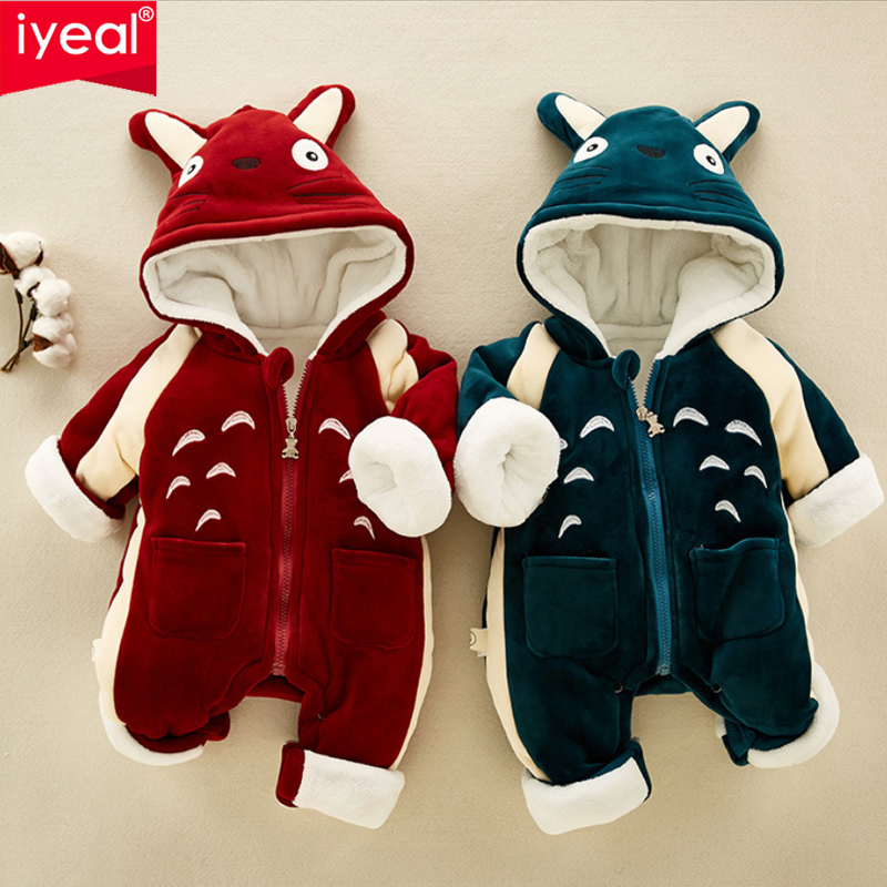 IYEAL Winter Baby Girls Boys Clothes Super Warm Fleece Velvet Newborn Baby Romper Cartoon Animal Kids Toddler Jumpsuit Outerwear newborn baby jumpsuit warm winter boys and girls toddler rompers cartoon animal wolf long sleeves overalls cotton kids clothes