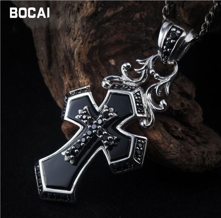 Rétro 925 pendentif croix en argent sterling noir mode sauvage couple modèles style punk foncé