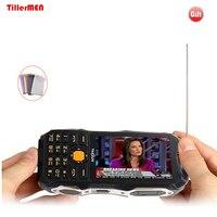TKEXUN Q8 Analog TV power bank touch screen dual SIM dual flashlight FM bluetooth cellphone 3.5
