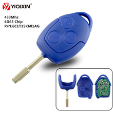 YIQIXIN 3 Button Remote Car Key For Ford Transit WM VM 2006-2014 433Mhz 4D63 Transponder Chip P/N: 6C1T15K601AG FO21 Blade