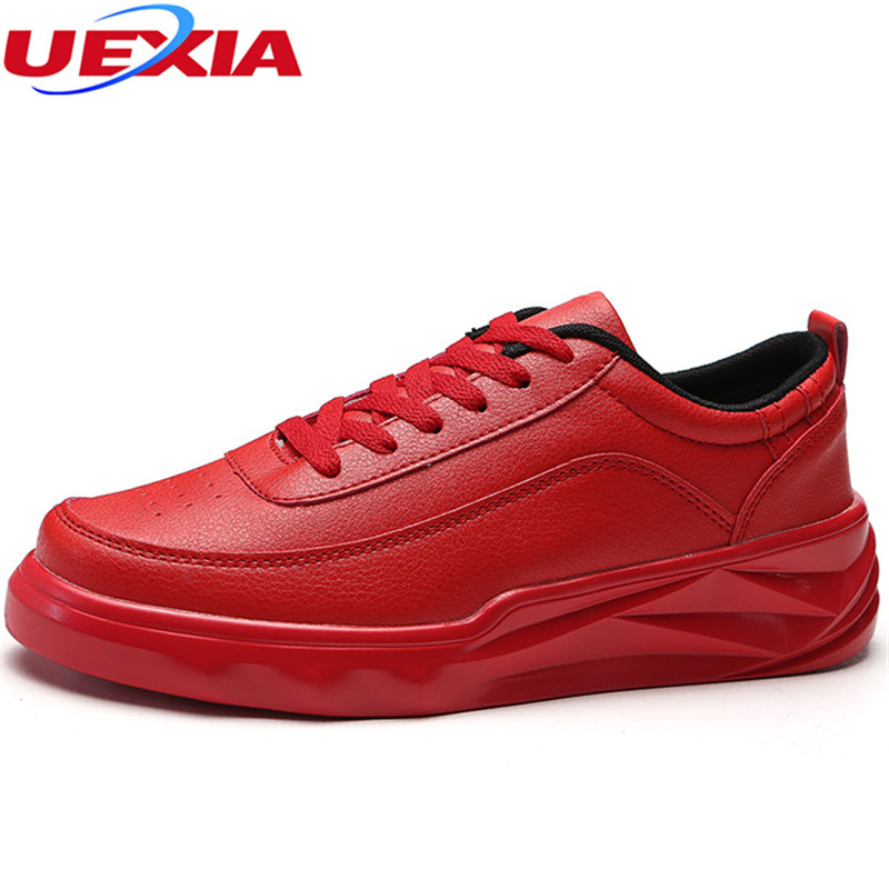 UEXIA Spring Men Shoes Trainers Leather Fashion Casual High Top Sport Walking Lace Up Ankle Boots For Men Red Zapatillas Hombre стоимость
