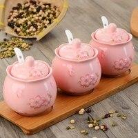Kitchen,Dining & Bar Cherry blossoms China Ceramic Spice Jar 3pcs/set Bamboo tray Kitchen Tools & Gadgets Herb & Spice Tools