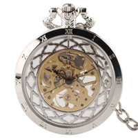Silver Hollow Skeleton Men Women Mechanical Pocket Watch Hand Winding Fashion Retro Clock with High Quality Pendant Chain