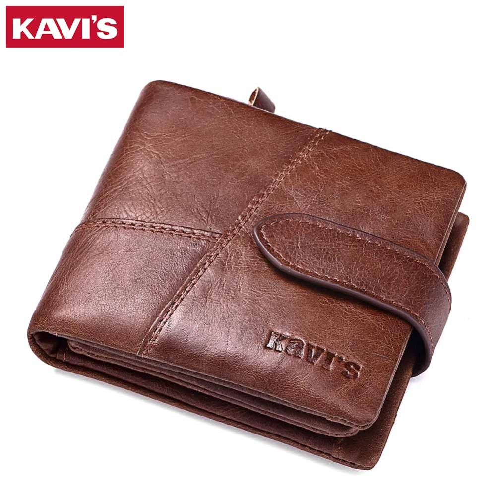 KAVIS Genuine Leather Wallet Men Small Walet Portomonee Rfid Mini PORTFOLIO MAN Money Bag Male Cuzdan Vallet For Card Coin Purse kavis new genuine leather men wallets vintage coin purse luxury brand bifold portfolio rfid fashion magic vallet male cuzdan