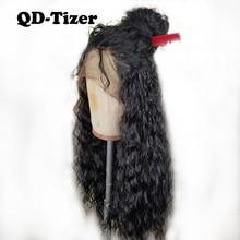 QD Tizer 180% Yoğunluk Siyah Gevşek Saç Sentetik Dantel Peruk Uzun Gevşek Kıvırcık Sentetik Dantel Ön Peruk Siyah için kadın
