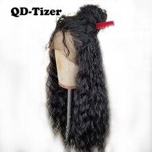 Qd tizer pelucas de encaje sintético para mujeres negras, pelo suelto 180% negro de densidad, largo, rizado, con encaje frontal