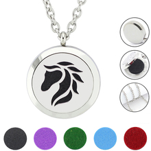Free felt pads and chain! Hot Sale 30mm Magnetic Silver 316L Stainless Steel Horse Aromatherapy Essential Oil Diffuser Necklace