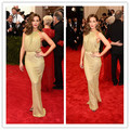 MGC17 Hot Sell Elegant Celebrity Dresses 2015 Met Gala Halter Gold Kate Beckinsale Evening Gowns Party Dresses robe de soiree