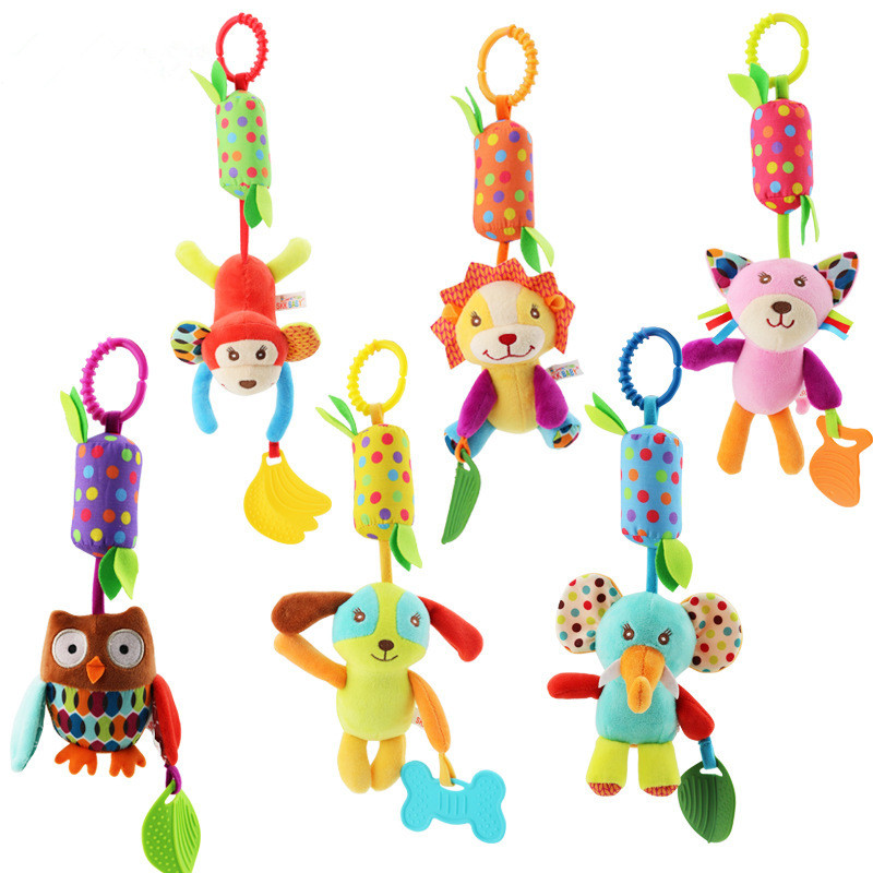 Baby Cartoon Developmental Toys Infant Plush Baby Toy Bed Wind Chimes Rattles Bell Toy Baby Crib Bed Hanging Bells Toys